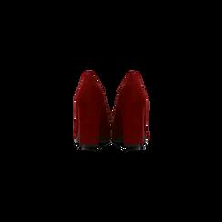 Mocassini décolleté bordeaux scamosciati con frange, tacco 9 cm, Scarpe, 122186591MFBORD, 003 preview