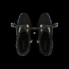 Tronchetti neri con intrecci, tacco 10 cm, Scarpe, 122196910MFNERO, 004 preview