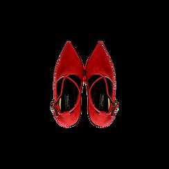 Décolleté rosse sagomate con cinturino, tacco 10,5 cm, Scarpe, 122186724MFROSS, 004 preview