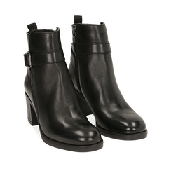 Ankle boots neri in pelle di vitello, tacco 6,50 cm , 16D808225VINERO035, 002a