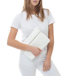 Bustina bianca in eco-pelle, ripiegata su sè stessa, Borse, 113308590EPBIANUNI, 002a