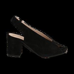 Slingback nere in camoscio, tacco 8 cm , Saldi Estivi, 13D602014CMNERO036, 001 preview