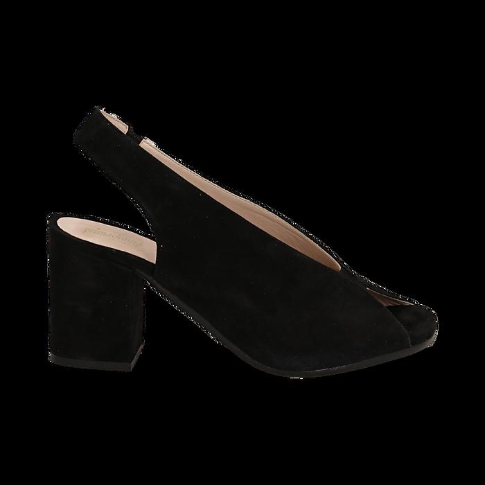 Slingback nere in camoscio, tacco 8 cm , Saldi Estivi, 13D602014CMNERO036