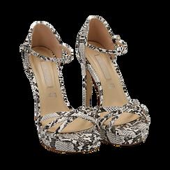 Sandalias en eco-piel con estampado de serpiente color blanco/negro, tacón 12,50 cm , OPORTUNIDADES, 152118123PTBINE036, 002 preview