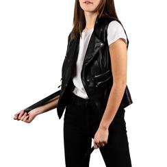 Gilet biker noir en simili-cuir, 156591041EPNERO3XL, 001a