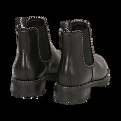 Chelsea boots neri in eco-pelle con micro boules, Scarpe, 140691301EPNERO036, 004 preview