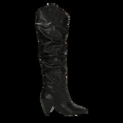Stivali sopra il ginocchio neri, tacco cono 8 cm, Primadonna, 124995700EPNERO, 001 preview