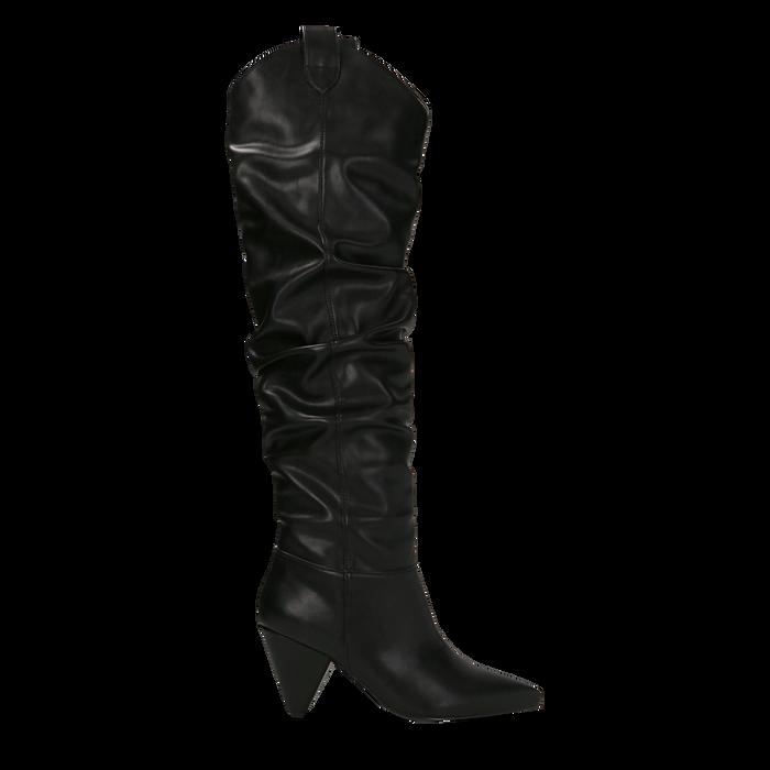 Stivali sopra il ginocchio neri, tacco cono 8 cm, Primadonna, 124995700EPNERO