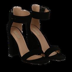 Sandali neri in mircofibra, tacco colonna 10, 50 cm , Sandali con tacco, 132760832MFNERO036, 002a