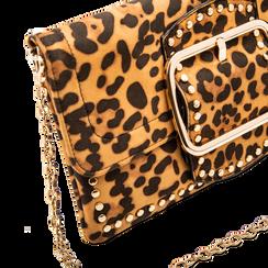 Pochette Leopardata con Borchie Oro Morbida, Borse, 123308722MFLEOPUNI, 003 preview
