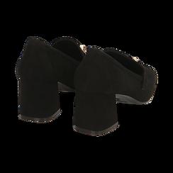 Mocasines en microfibra color negro con maxi-cadena, tacón 6 cm, Primadonna, 164981001MFNERO036, 004 preview