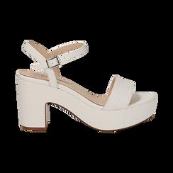 Sandali con plateau bianchi in eco-pelle, tacco 9 cm , Sandali con tacco, 138402256EIBIAN037, 001 preview