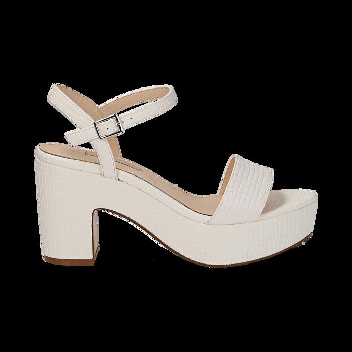 Sandali con plateau bianchi in eco-pelle, tacco 9 cm , Sandali con tacco, 138402256EIBIAN037