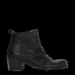 Tronchetti neri in vera pelle con punta tonda western, tacco 3 cm, Primadonna, 128900402VINERO036, 001a