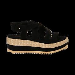 Sandali platform neri in microfibra, zeppa in rafia 5 cm , Saldi Estivi, 134996275MFNERO036, 001 preview