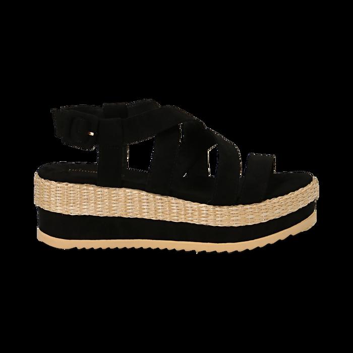 Sandali platform neri in microfibra, zeppa in rafia 5 cm , Saldi Estivi, 134996275MFNERO036