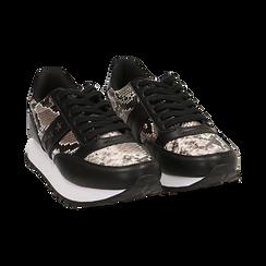 Sneakers blanc/noir imprimé python, Primadonna, 162619079PTBINE035, 002 preview