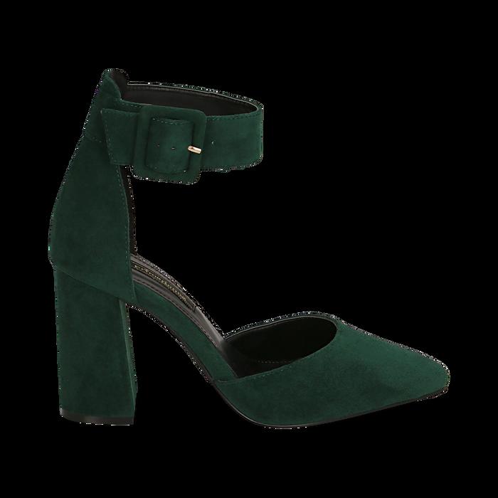 Décolleté verdi in microfibra, tacco 9,50 cm , Scarpe, 144895575MFVERD036