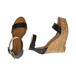 Sandali neri, zeppa 12 cm, Scarpe, 154981001EPNERO, 003 preview