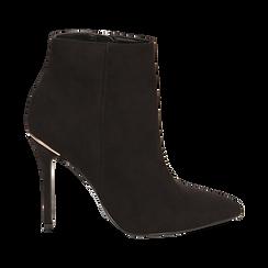 Ankle boots neri in microfibra, tacco 10,5 cm , Scarpe, 142168616MFNERO035, 001 preview