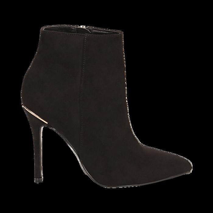Ankle boots neri in microfibra, tacco 10,5 cm , Scarpe, 142168616MFNERO035