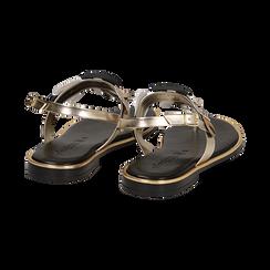 Sandali flat oro in laminato con dettagli snake skin, Primadonna, 136102170LMOROG036, 004 preview
