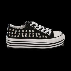 Sneakers nere in canvas con borchie, platform 4 cm, Scarpe, 132619223CANERO037, 001 preview