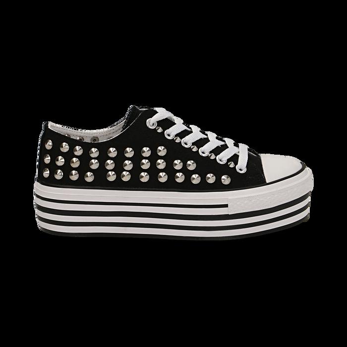 Sneakers nere in canvas con borchie, platform 4 cm, Scarpe, 132619223CANERO037