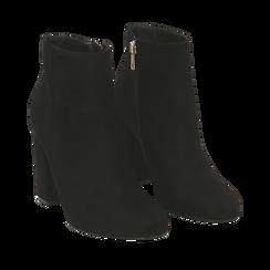 Ankle boots neri in microfibra, tacco 9 cm , Stivaletti, 142708221MFNERO036, 002a