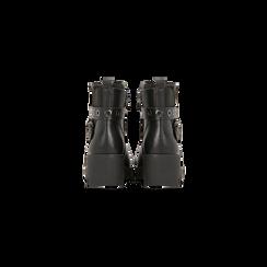 Biker city neri con fascia elastica e cinturino borchiato, Scarpe, 129300120EPNERO, 003 preview
