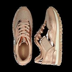 Sneakers oro in tessuto laminato e dettagli mirror, Scarpe, 130100107LMOROG036, 003 preview