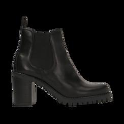 Chelsea Boots neri in vera pelle, tacco alto 7,5 cm, Scarpe, 127723802PENERO, 001 preview