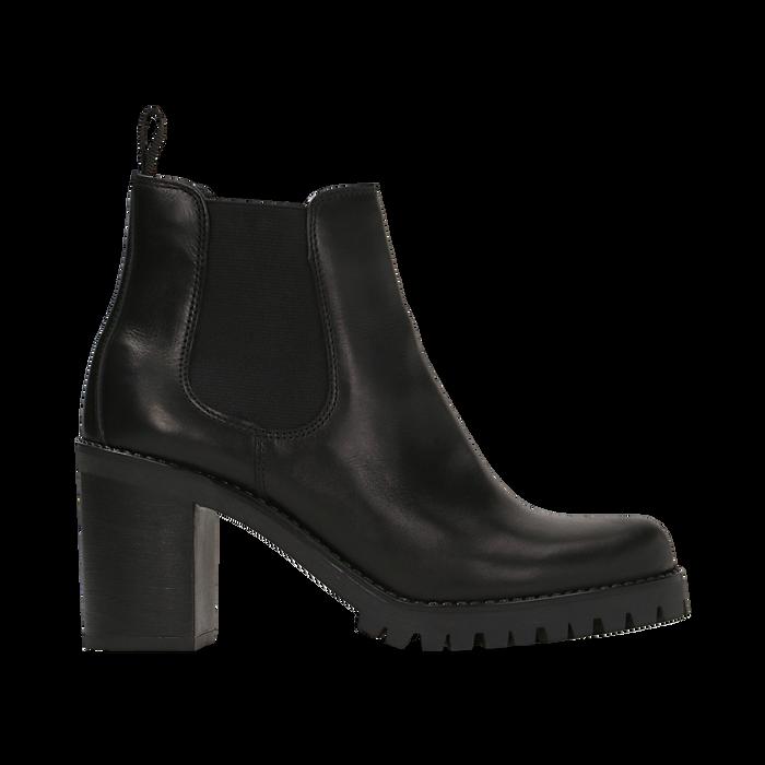 Chelsea Boots neri in vera pelle, tacco alto 7,5 cm, Scarpe, 127723802PENERO