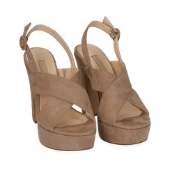 Sandali beige in microfibra, tacco 12,50 cm , Chaussures, 158480412MFBEIG036, 002a