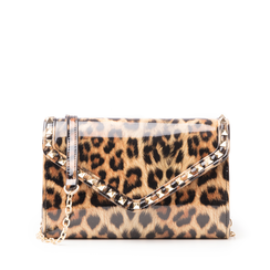 Clutch leopard borchiata in vernice, Primadonna, 145186501VELEOPUNI, 001a