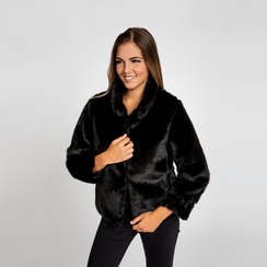 Pelliccia nera corta eco-fur, manica lunga, Saldi, 12B432301FUNERO3XL, 002