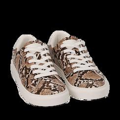 Sneakers beige in eco-pelle snake print, Sneakers, 152607101PTBEIG035, 002a