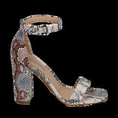 Sandali celesti stampa pitone, tacco 10,5 cm, Primadonna, 152709444PTCELE039, 001a
