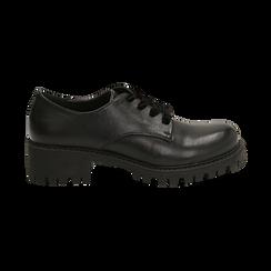 Stringate nere in eco-pelle con lacci in velluto, Scarpe, 140585669EPNERO036, 001 preview