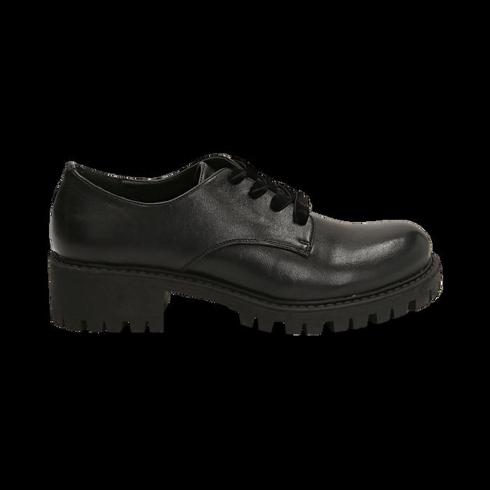 Stringate nere in eco-pelle con lacci in velluto, Scarpe, 140585669EPNERO036