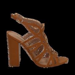 Sandali cage cuoio in eco-pelle, tacco 10,50 cm, Sandali con tacco, 132760843EPCUOI035, 001a