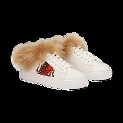 Sneakers bianche con ricami animalier e dettagli in faux-fur, Primadonna, 126102020EPBIAN036, 002 preview
