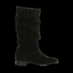 Stivali Neri in vero camoscio con gambale morbido, tacco 2,5 cm, Primadonna, 128900900CMNERO036, 001 preview