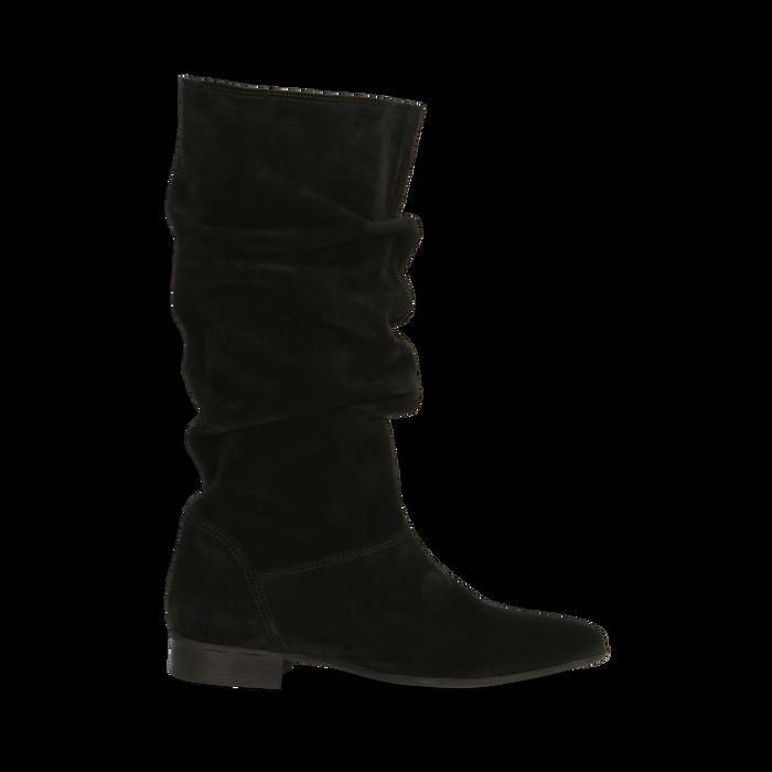 Stivali Neri in vero camoscio con gambale morbido, tacco 2,5 cm, Primadonna, 128900900CMNERO036