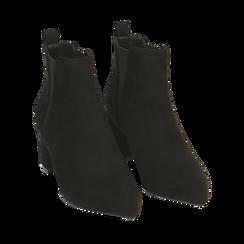 Ankle boots neri in microfibra, tacco 6 cm , 164931531MFNERO036, 002a
