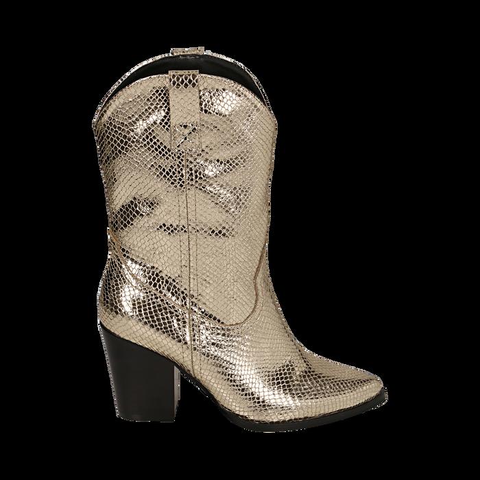 Botas camperas de ecopiel estampado de serpiente en color dorado, tacón 8 cm, Zapatos, 151198105EVOROG035