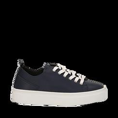 Sneakers blu in eco-pelle, Scarpe, 132500778EPBLUE035, 001a