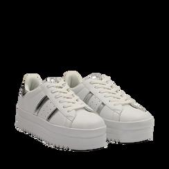 Sneakers bianche in eco-pelle con suola platform 4 cm, Scarpe, 130101010EPBIAN035, 002a