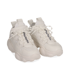 Dad shoes bianche in eco-pelle, Sneakers, 15K319391EPBIAN035, 002a
