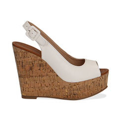 Sandali platform bianchi in eco-pelle, zeppa in sughero 12 cm , Primadonna, 134907982EPBIAN035, 001 preview